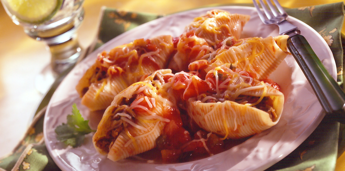 Stuffed Taco Pasta Shells Recipe | Sargento® Shredded 4 Cheese