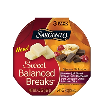 Sweet Balanced Breaks® Monterey Jack Natural Cheese with Dried Cranberries, Dark Chocolate Chunks and Banana Chips