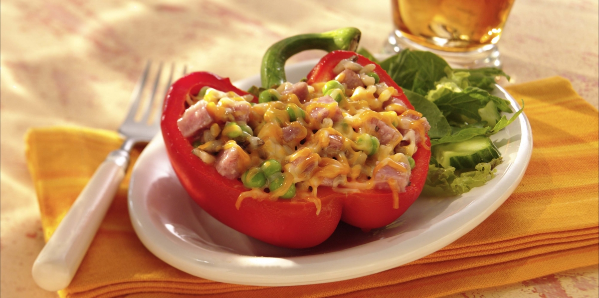 Smoked Sausage, Cheese & Rice-Stuffed Peppers
