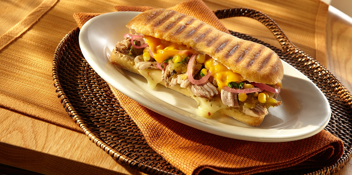 Roast Pork Panini with Two Cheeses