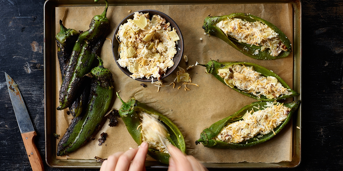 Cheesy Artichoke Stuffed Chilies