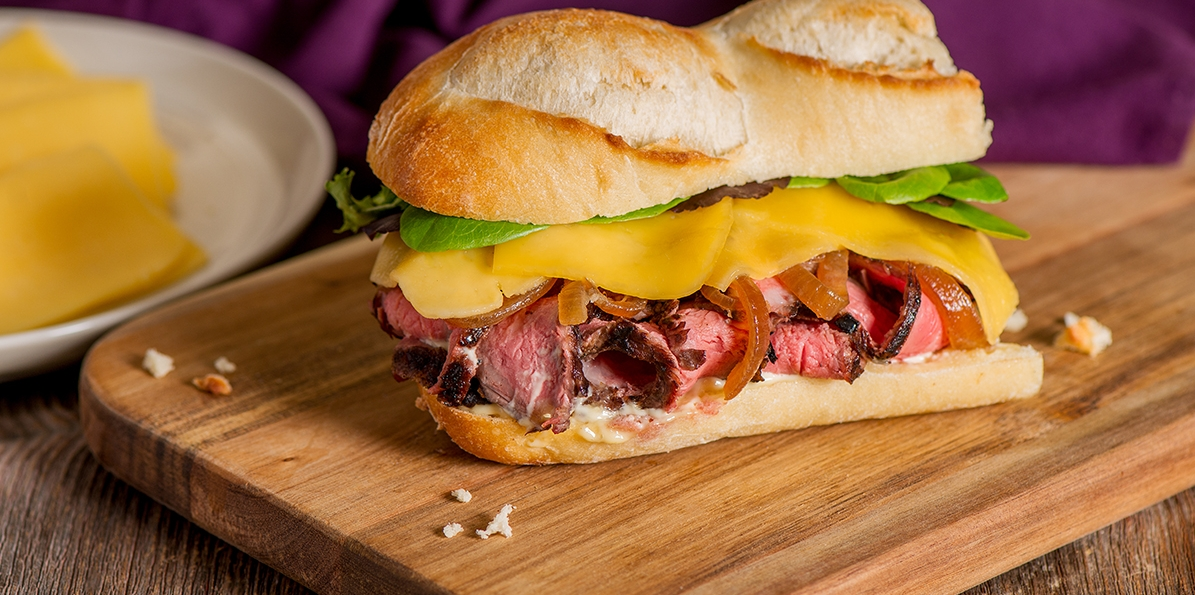 Grilled Steak Sandwich with Gouda and Caramelized Onions