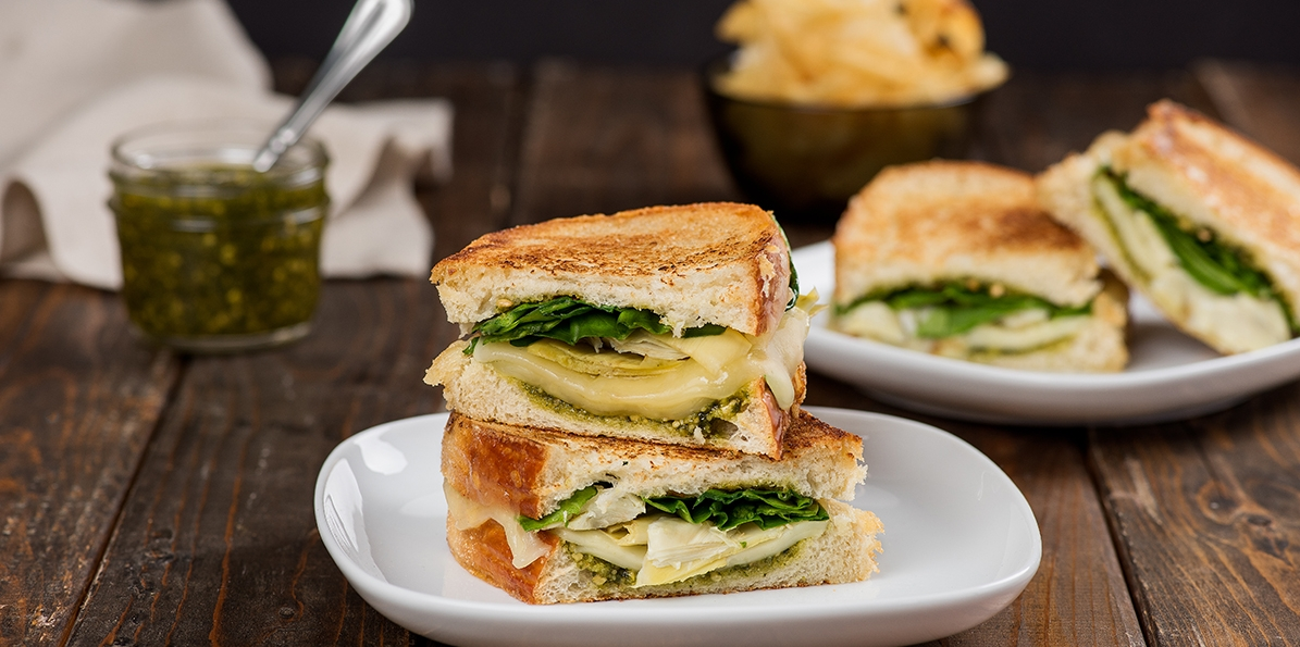 Pesto, Artichoke & Havarti Grilled Cheese