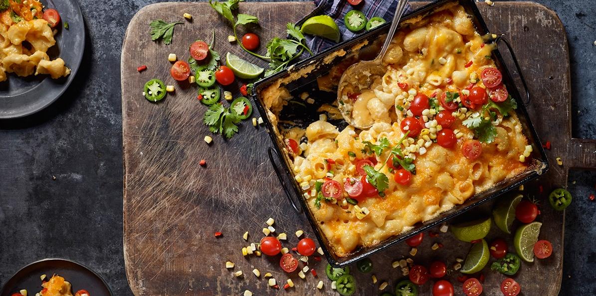 Jalapeño Mac & Cheese with Corn & Tomato Salad