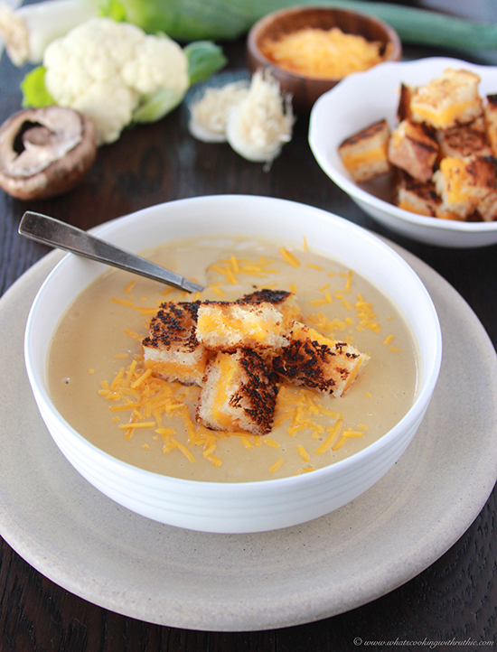 Roasted Cauliflower Cheese Soup with Grilled Cheese Croutons ...